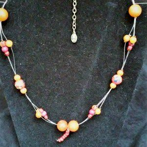 Necklace w Hand painted Beads
